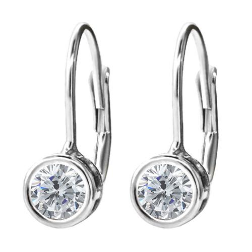 0.54 Ct Round G/H Diamond 925 Sterling Silver Earrings