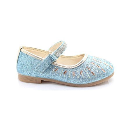 Little Girls Blue Glitter Stone Encrusted Mary Jane Dress - Glitter Mary Jane