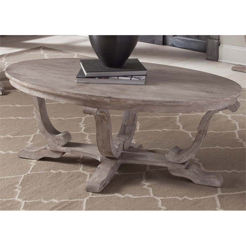 Liberty Furniture Greystone Mill Oval Coffee Table in Stone White Wash