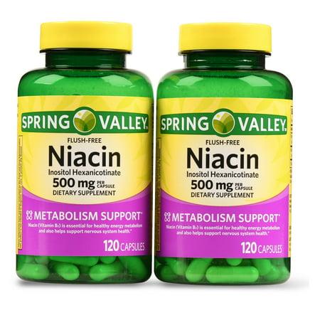 Leaf 1000 Mg 500 Tabs - Spring Valley Niacin Capsules, 500 mg, 120 Ct, 2 Pack