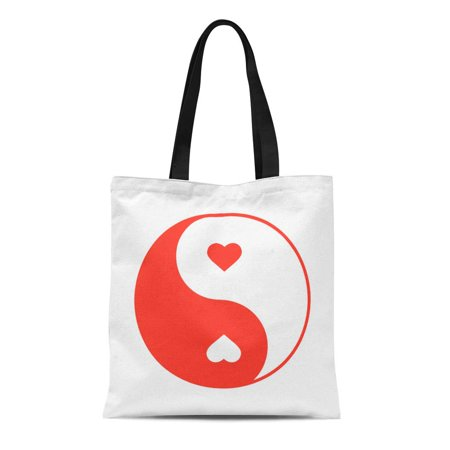 ASHLEIGH Canvas Tote Bag Red Acupuncture Yin Yang Hearts Color Love Man Woman Durable Reusable Shopping Shoulder Grocery Bag