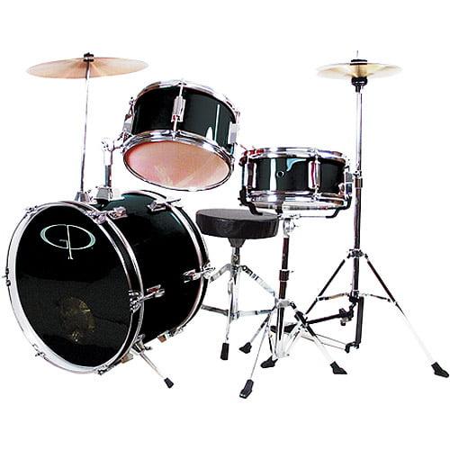 GP Percussion 3-Piece Complete Junior Drum Set, Black by M & M Merchandisers Inc