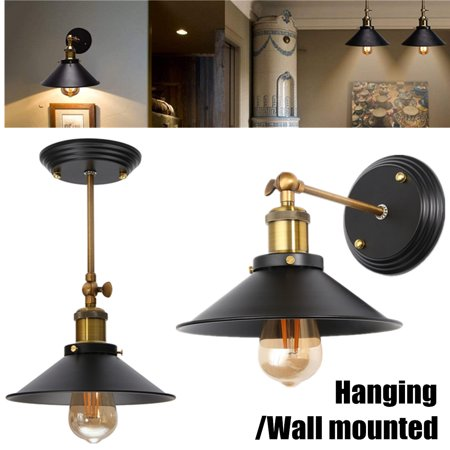 Retro Wall Mount Hanging Sconce Light Lampshape Ceiling Vintage Pendant Fixture