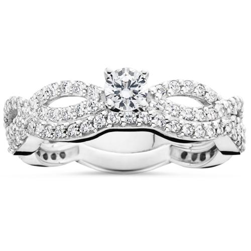 1ct Curve Diamond Engagement Matching Wedding Ring Bridal Set 14K White Gold
