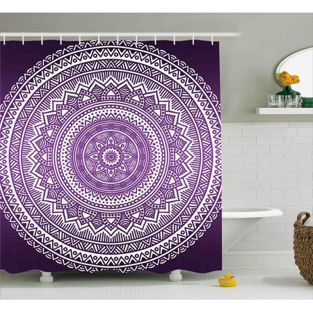 Purple Shower Curtain, Ombre Mandala Art Print Bright Floral Pattern ...
