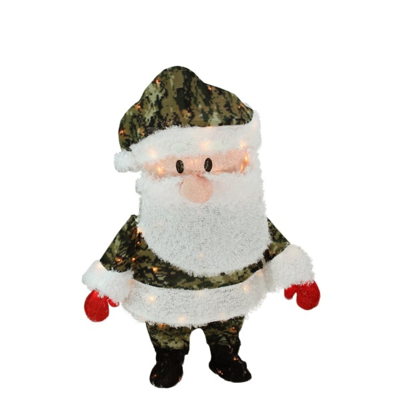"""32"""" Pre-Lit Candy Cane Lane Camo Santa Claus Christmas Ya..."""