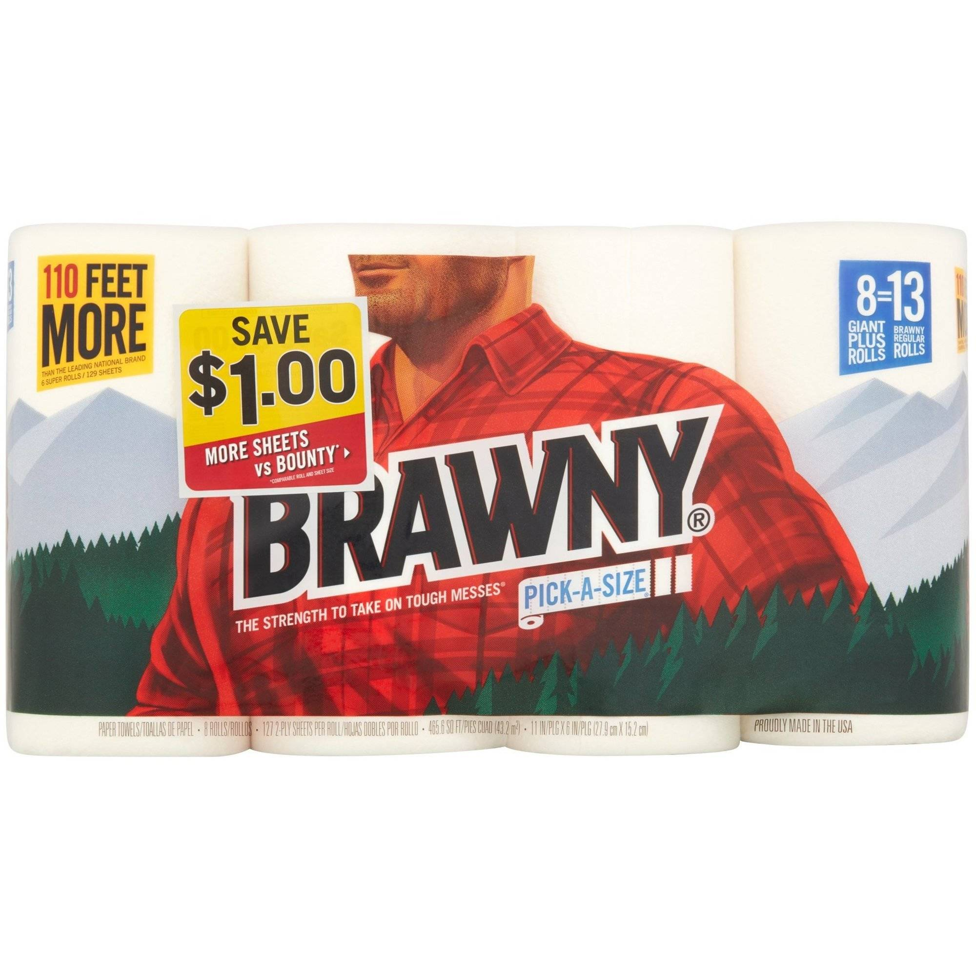 Brawny Pick-a-Size Giant Plus Roll Paper Towels, 127 sheets, 8 rolls