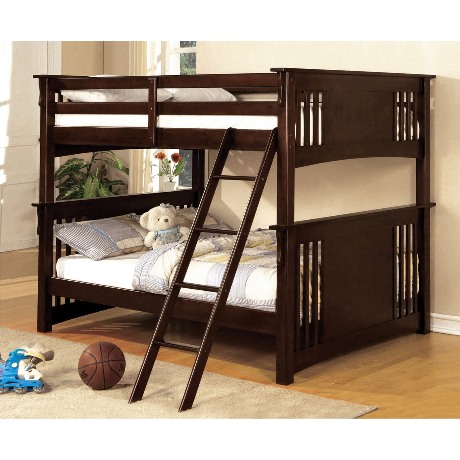 Furniture Of America Paramount Full Over Full Bunk Bed   Dark Walnut    Walmart.com
