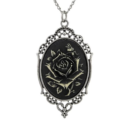 Gothic Black Rose Cameo Necklace in Silver Tone Frame 30 In.