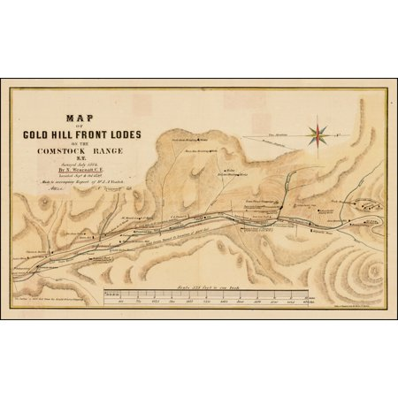 LAMINATED POSTER Map of Gold Hill Front Lodes on the Comstock Range N.T. Surveyed July 1864 By N. Wescoatt, C.E. Located Sept. & Oct. 1859. . . . POSTER PRINT 24 x 36 (Front Range Map)