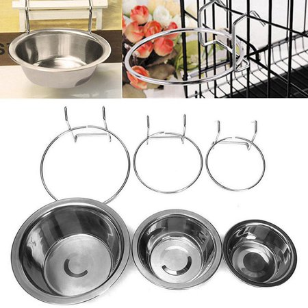 Stainless Steel Hanging Bowl Feeding Bowl Pet Bird Dog Food Water Cage Cup - image 1 de 12