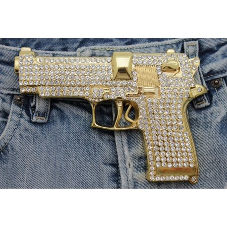 Gun Belt Buckle Western Cowboy Cowgirl Huge Heavy Jumbo Bling Rhinestones Gold Metal Fashion costume ()