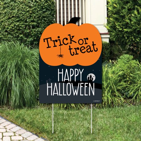 Trick or Treat - Outdoor Halloween Decorations - Happy Halloween Yard Sign](Easy To Make Yard Decorations For Halloween)