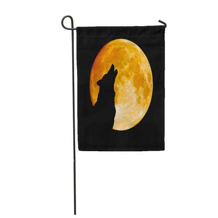KDAGR Gray Full Wolf Howling at The Moon in Midnigt Halloween Garden Flag Decorative Flag House Banner 12x18 inch - Halloween Wolf Howl Mp3