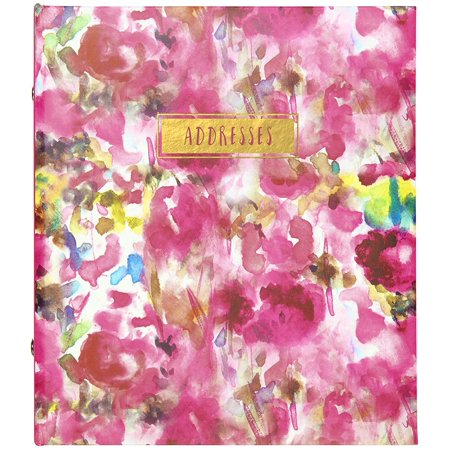 C.R. Gibson Floral Watercolor Refillable 6-Ring Address Book, 440 Entries, 6.5