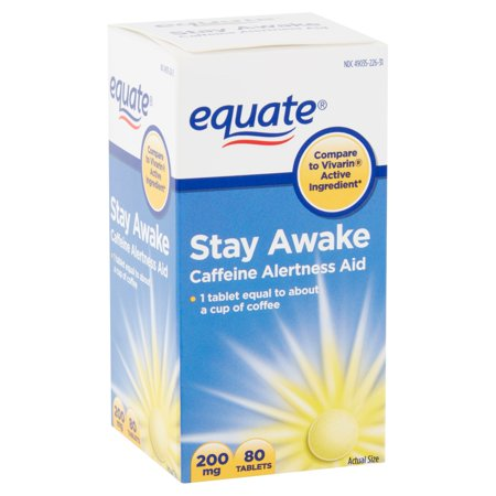 Equate Stay Awake Caffeine Alertness Aid Tablets, 200 mg, 80 Count (Aid 30 Tablets)
