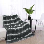 "Soft Warm Shaggy Faux Fur Plush Decorative Throw Blanket 50"" x 60"" Gray and White"