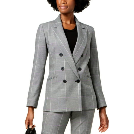 Nine West Womens Double-Breasted Plaid Three-Button Suit Jacket Polyester Suit Jacket