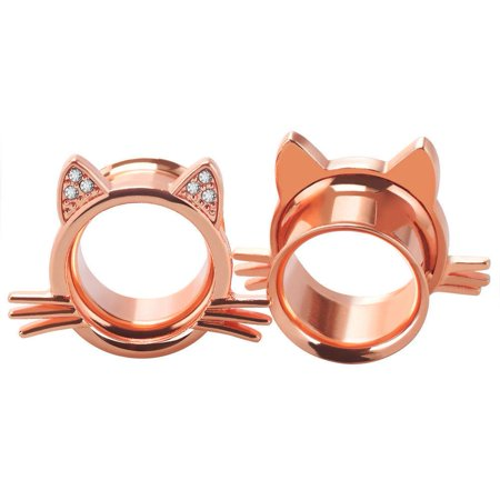 Ear Plugs Cat design with Clear Round Cubic Zirconia Double Flare Ear Tunnels 2G ()