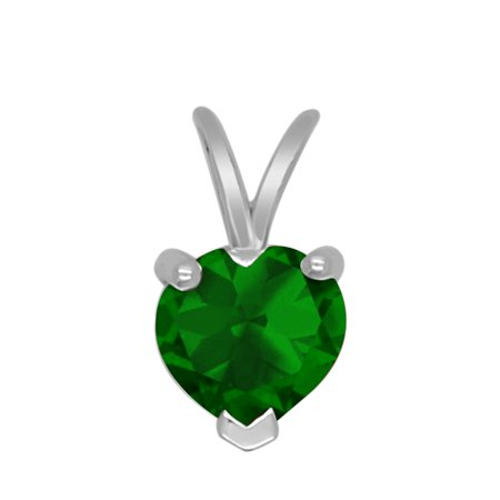 10K White Gold Heart Shape Simulated Emerald Solitaire Pendant For Women (1.06 Cttw) - Ladies Emerald Shape