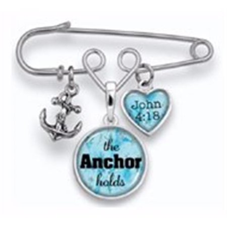 Brooch Pin-The Anchor Holds w/3 Charms