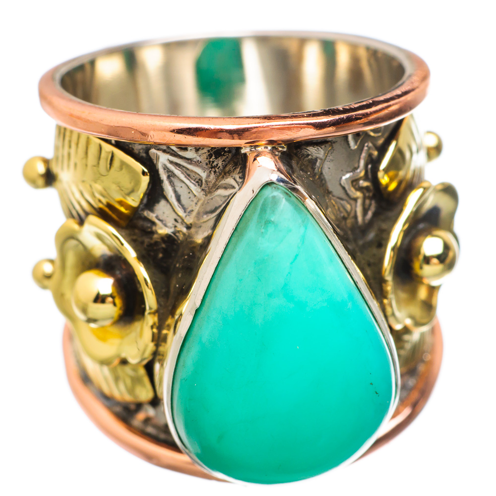 Ana Silver Co Chrysoprase Flower 925 Sterling Silver Ring Size 5.75 Handmade Jewelry RING833624 by Ana Silver Co.