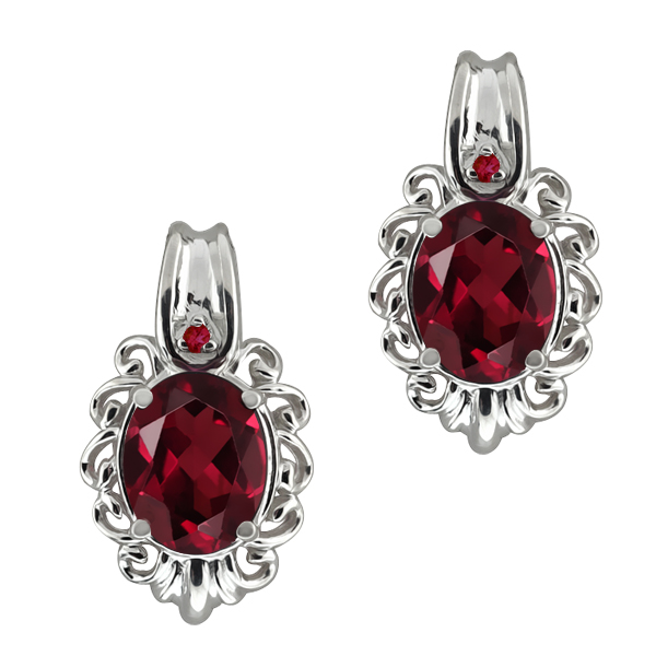 2.82 Ct Oval Red Rhodolite Garnet Gemstone 18k White Gold Earrings