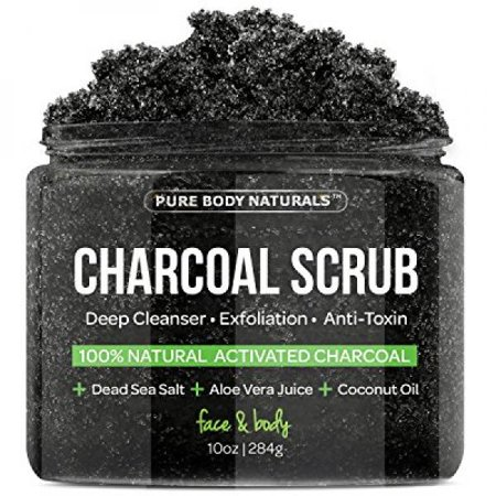 The BEST Charcoal Scrub with Coconut Oil - 10 oz.Best for Facial Scrub, Pore Minimizer & Reduces Wrinkles, Acne Scars, Blackheads & Anti Cellulite Treatment, Great as Body Scrub, Body & Face