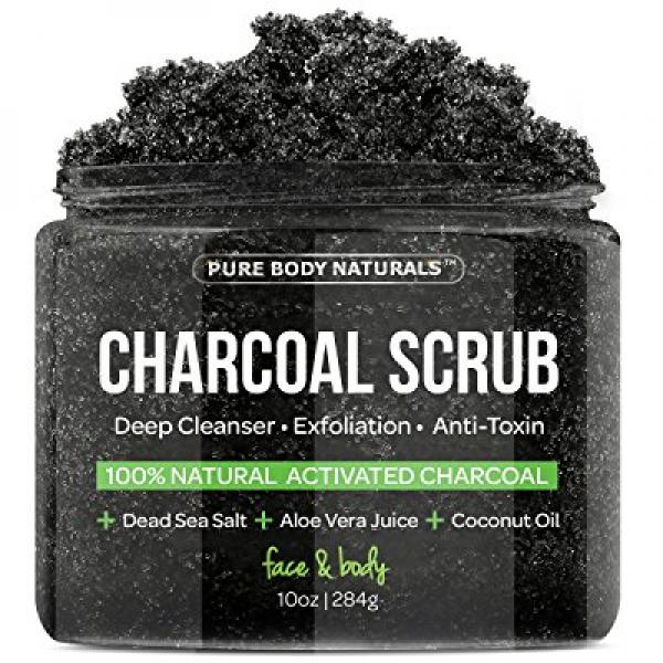 The BEST Charcoal Scrub with Coconut Oil - 10 oz.Best for Facial Scrub, Pore Minimizer & Reduces Wrinkles, Acne Scars, Blackheads & Anti Cellulite Treatment, Great as Body Scrub, Body & Face Cleanser