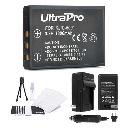 KLIC-5001 High-Capacity Replacement Battery with Rapid Travel Charger for Kodak EasyShare P850 P880 DX6490 DX7440 - UltraPro BONUS INCLUDED: Camera Cleaning Kit, Screen Protector, Mini Travel
