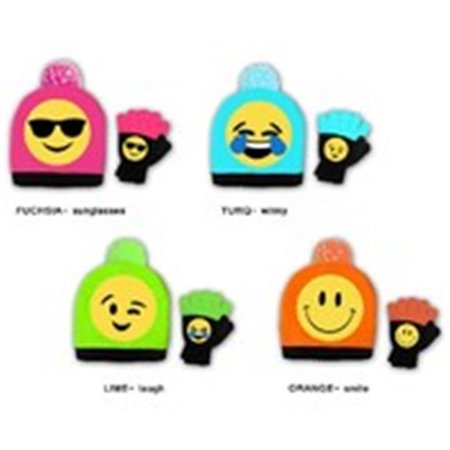 S W A K  2127184 Girls Lol Emoji Hat   Gloves Set   Multicolor