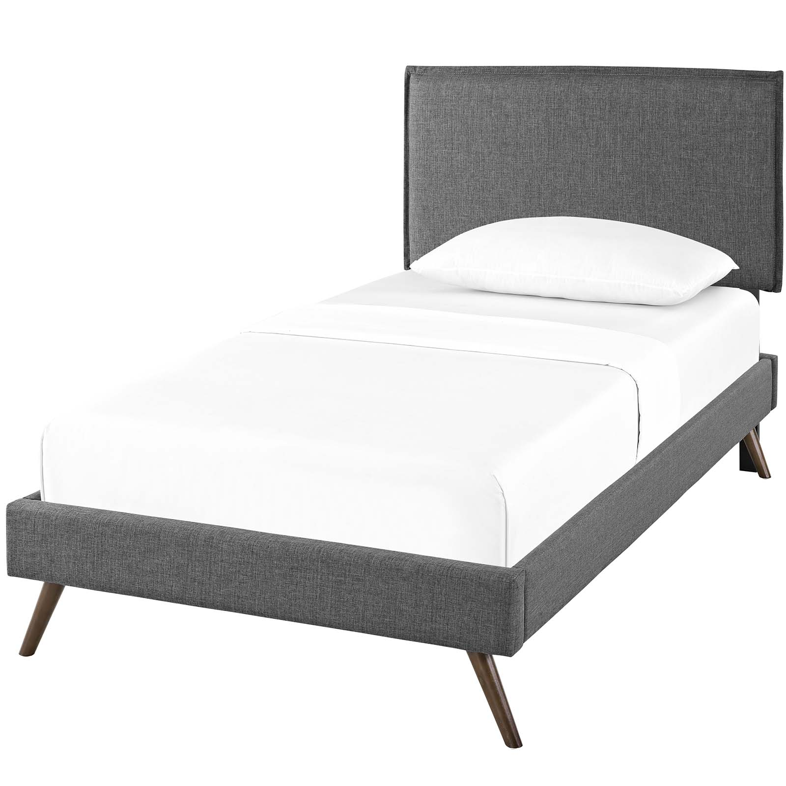 Modern Contemporary Urban Design Bedroom Twin Size Platform Bed Frame, Fabric, Grey Gray