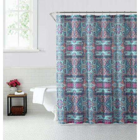Oh Hello, Fabric Shower Curtain - Tribal Bandana Print - 80% Polyester / 20% Cotton - 72