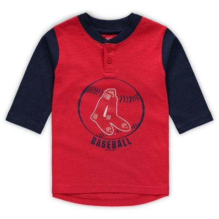 Boston Red Sox Toddler Cooperstown Collection Legacy Henley 3/4-Sleeve T-Shirt - Red/Navy