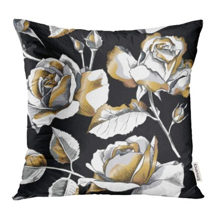 ARHOME Floral with of Gold Rose Flowers on Black Modern Drawing Line White Abstract Blossom Pillow Case Pillow Cover 16x16 inch Throw Pillow Covers ()