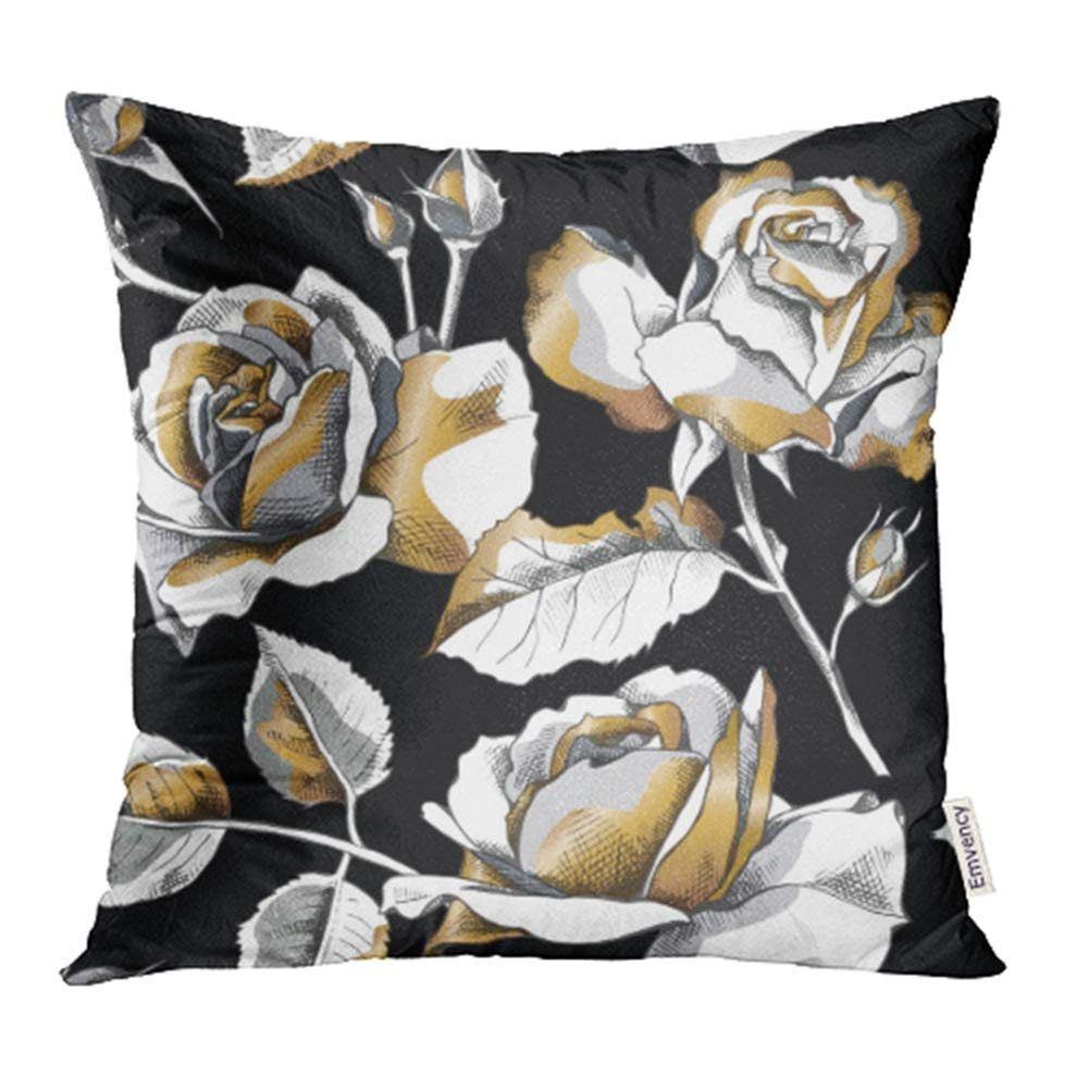 USART Floral with of Gold Rose Flowers on Black Modern Drawing Line White Abstract Blossom Pillow Case Pillow Cover 18x18 inch Throw Pillow Covers