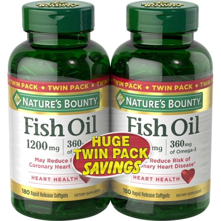 Nature's Bounty Fish Oil Omega-3 Softgels, 1200 Mg, 180 Ct, 2 Pack