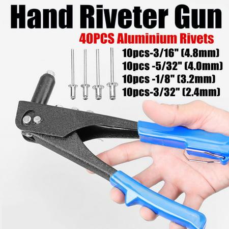 Manual Pulling Rivet Gun Blind Hand Tool For Metal Woodworking w/ 40 (Best Hvlp Spray Gun For Woodworking)