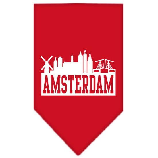 Image of Amsterdam Skyline Screen Print Bandana Red Large
