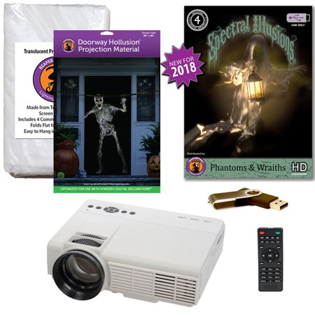Halloween Projector Kit for Windows, Doors & Walls with Phantoms & Wraiths Spectral Illusions on USB + 2 Screens + Projector