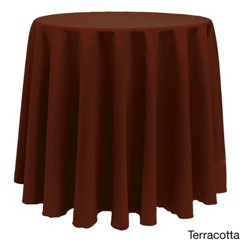 Solid Color 108-inches Round Bright Colorful Tablecloth TERRACOTTA
