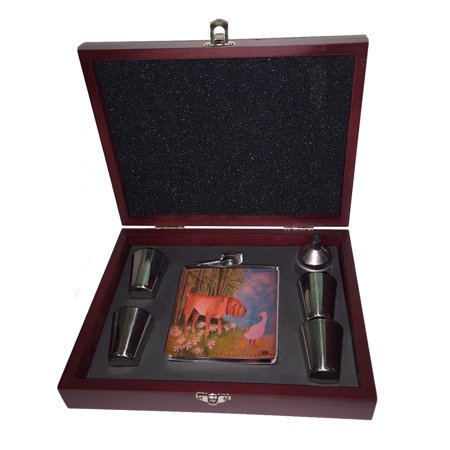 KuzmarK Pink Leather Flask Set in Rose Wood Gift Box - Chinese Shar Pei with Bamboo and Ducks Dog Art by Denise Every