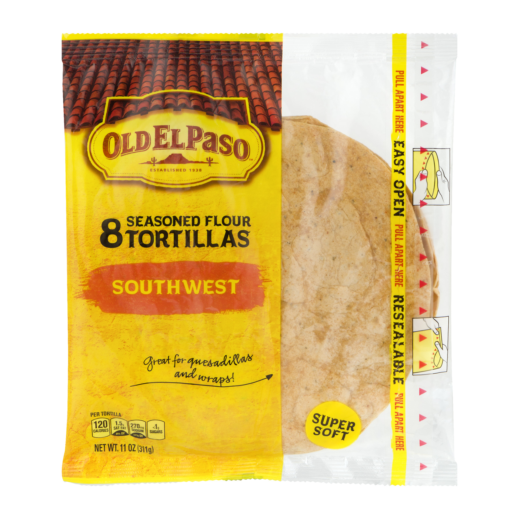Old El Paso™ Southwest Seasoned Flour Tortillas 8 ct Bag, 11.0 OZ