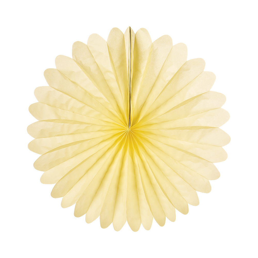 Luna Bazaar Hanging Paper Fan (19-Inch, Lemonade Yellow) - Rice Paper Honeycomb Decorations - For Home Decor, Parties, and Weddings