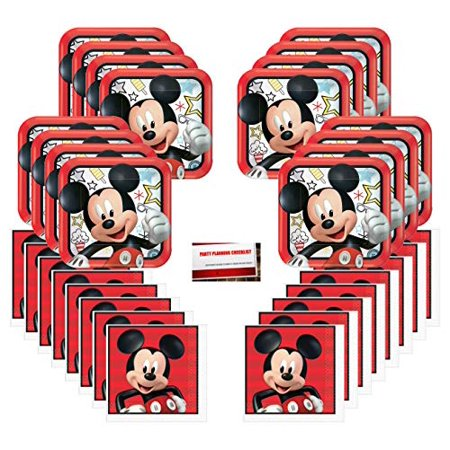 Mickey Mouse on The Go Happy Birthday Party Supplies Bundle Pack for 16 Guests (Plus Party Planning Checklist by Mikes Super Store) - Plum Party