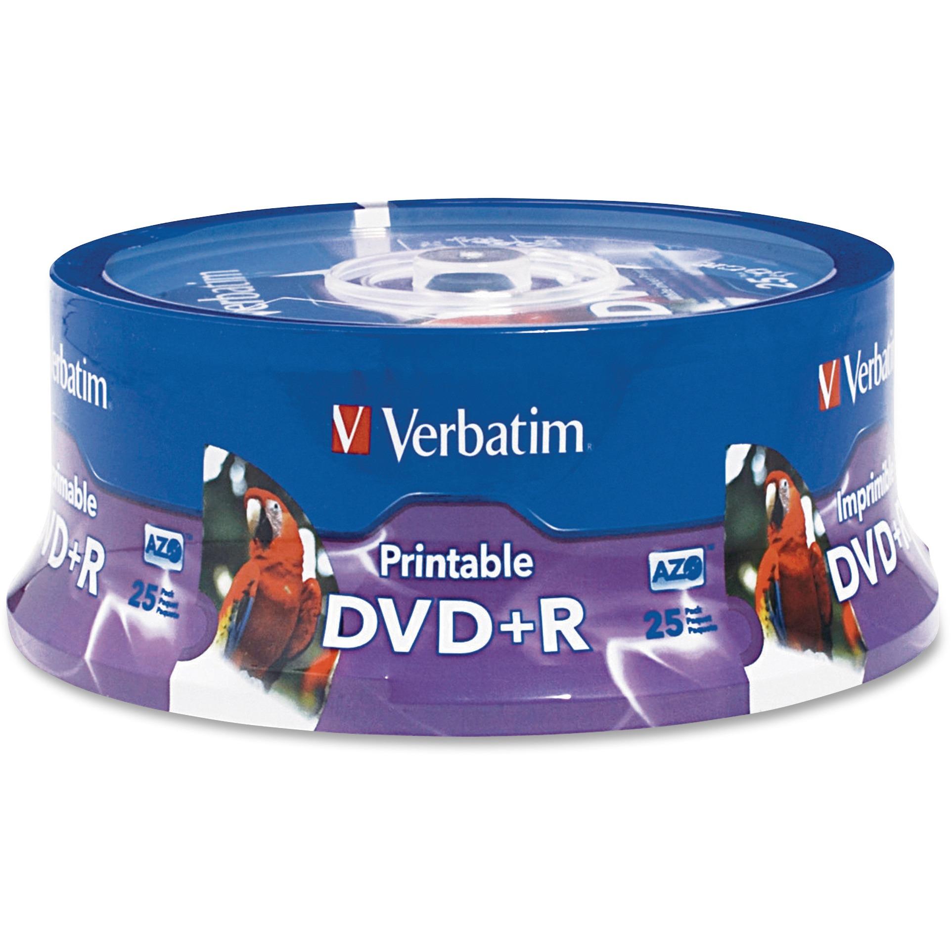 Verbatim, VER96190, 4.7GB Printable DVD+R Disks, 25, White