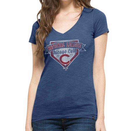 Chicago Cubs 47 Brand Womens 2015 NLCS MLB Postseason Scrum Blue T-Shirt by