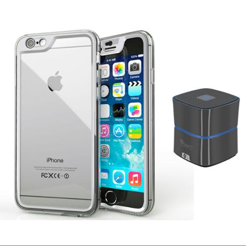 iPhone 6 Case Bundle (Case + Speaker Gunmetal), roocase iPhone 6 4.7 Gelledge  PC / TPU Protective Full Body Case Cover with Mini Bluetooth Speaker Gunmetal for Apple iPhone 6 4.7-inch, Alpine White