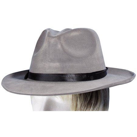 Star Power Fedora Gangster Mafia Adult Costume Hat, Grey, One Size