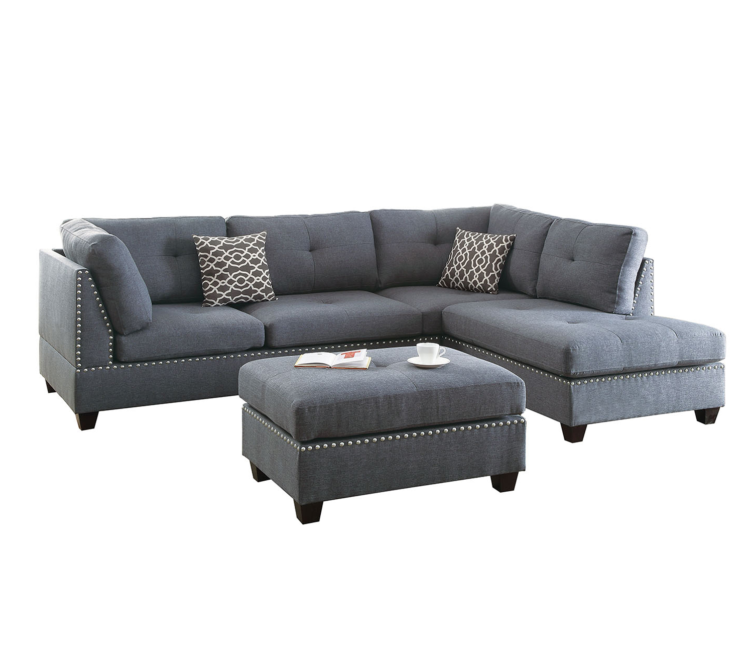 Bobkona Kipp Linen-like Polyfabric Left or Right hand Chaise Sectional Set with Ottoman in Blue Grey by Poundex